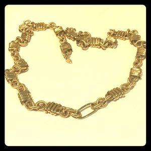 Vintage Trifari long gold link necklace